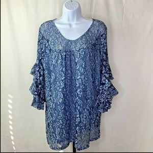 Suzanne Betro 1X Blue Floral Lace Ruffle Sleeves